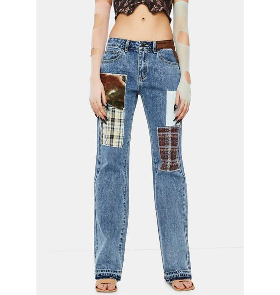 Jaded London Patchwork Check Mid Rise Boyfriend Fit Jeans