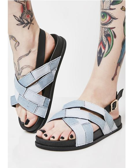 Patched Up Denim Sandals
