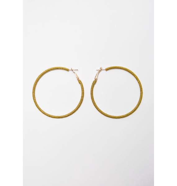Golden Stand Up Hoop Earrings