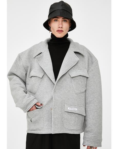 Mens Grey Quilted Pocket Jacket