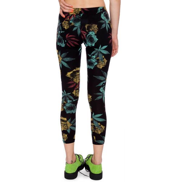 Dimepiece Weed & Rose Print Leggings
