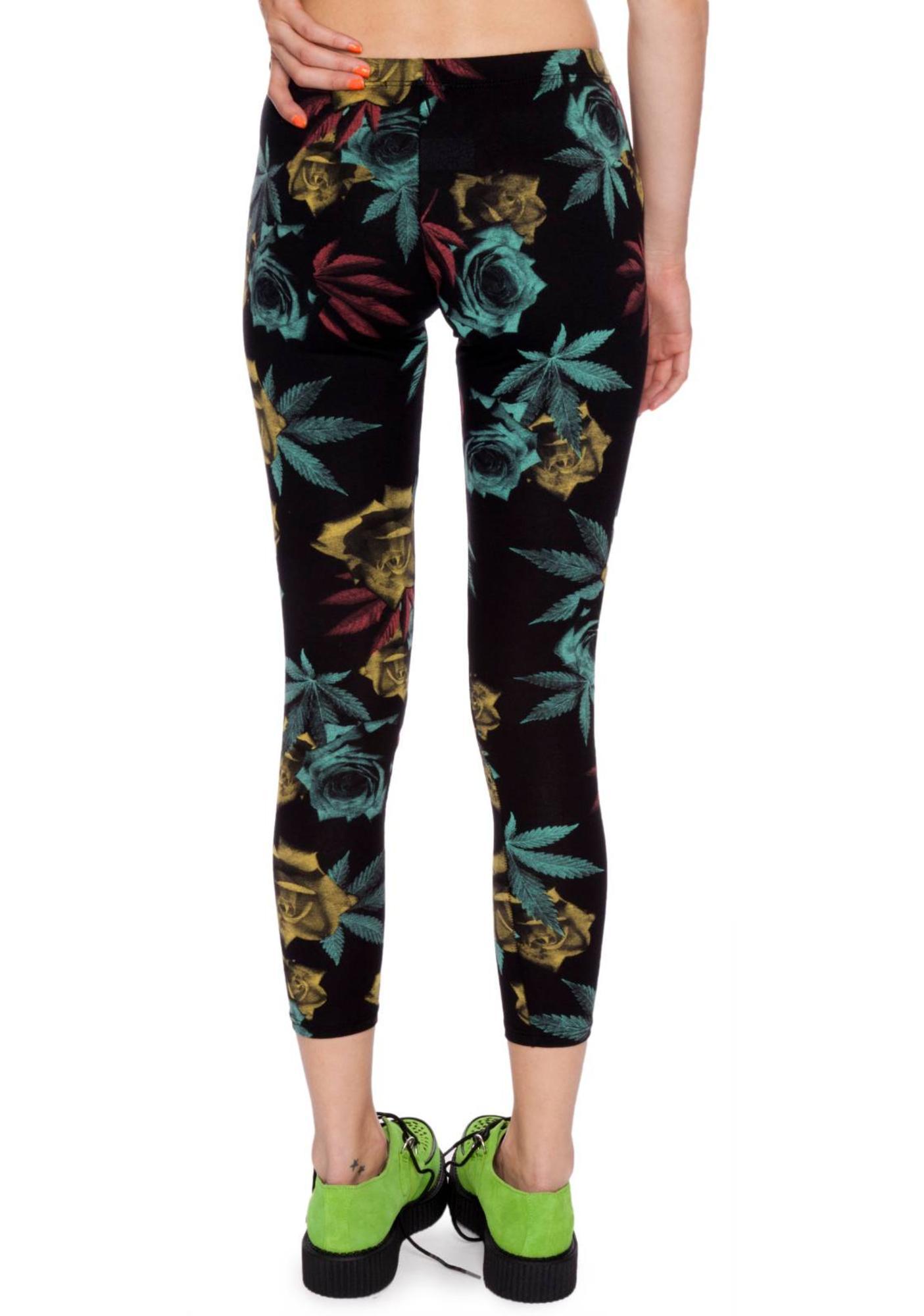 988fea6f9ea8b Dimepiece Weed & Rose Print Leggings | Dolls Kill