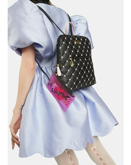 Quilted Heart Backpack With PVC Wristlet