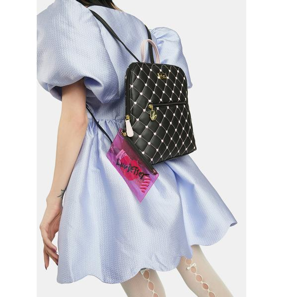 Betsey Johnson Quilted Heart Backpack With PVC Wristlet