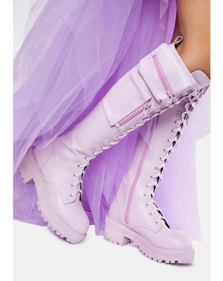 Lavender Obsidian Pocket Combat Boots