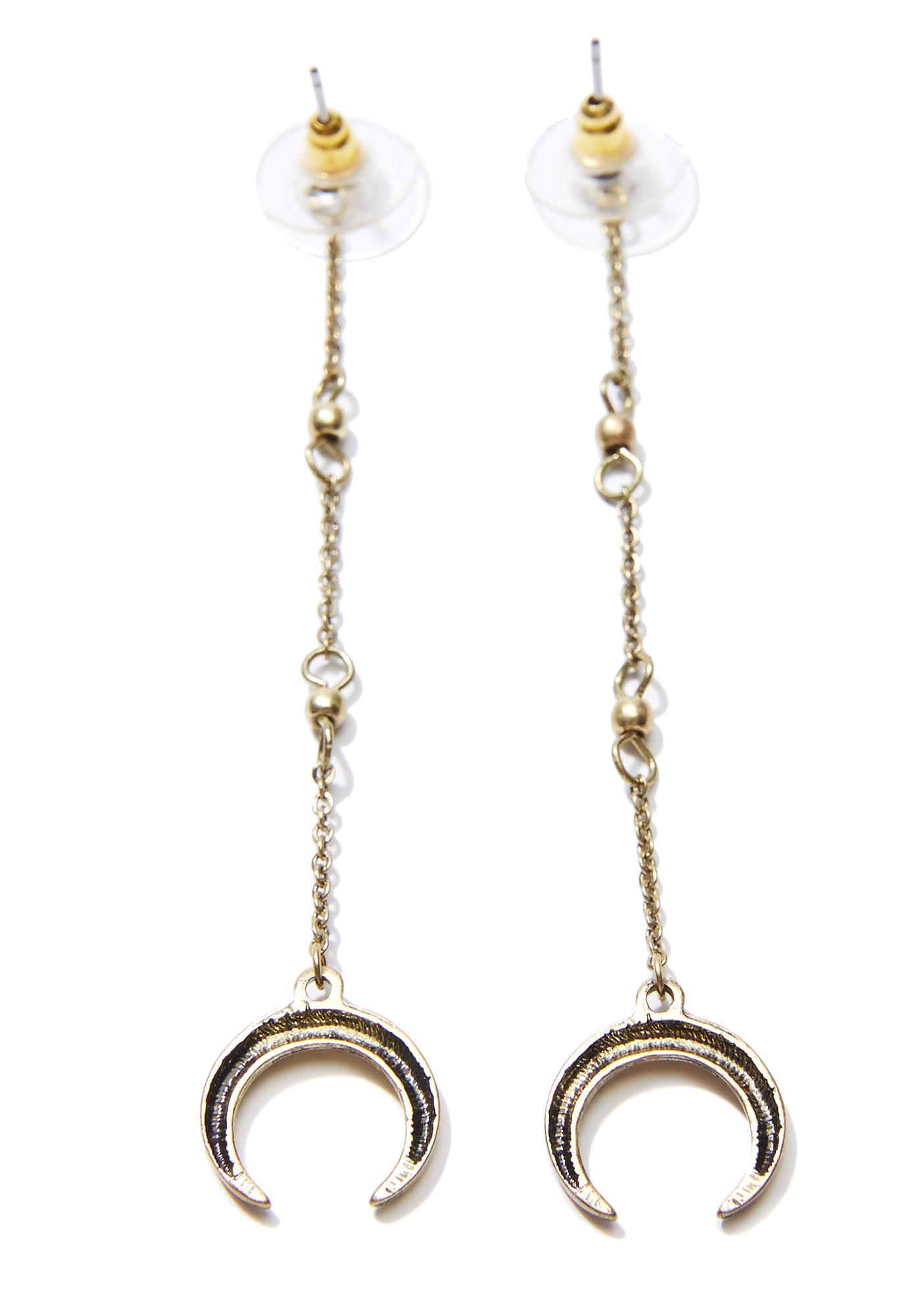Rising Moon Crescent Drop Earrings