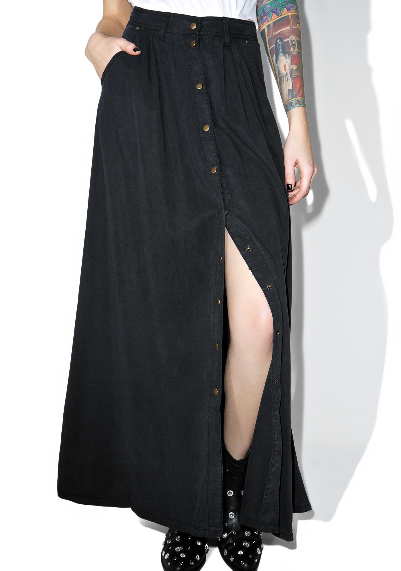 black button maxi skirt dolls kill