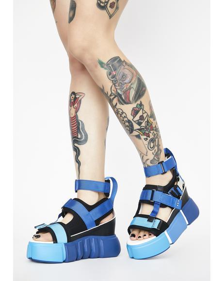 Blue Cranberry Platform Sandals