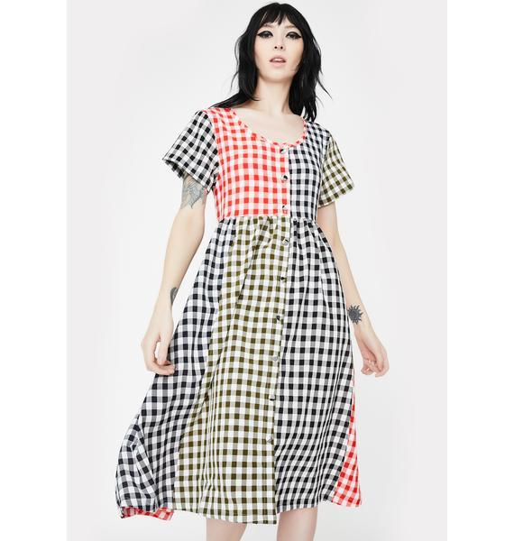 Lazy Oaf Mixed Gingham Checkered Midi Dress