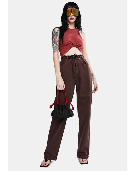 Chocolate Brown High Waist Wide Leg Jeans
