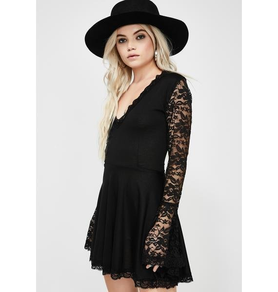 Vera's Eyecandy Lace Bell Sleeve Dress