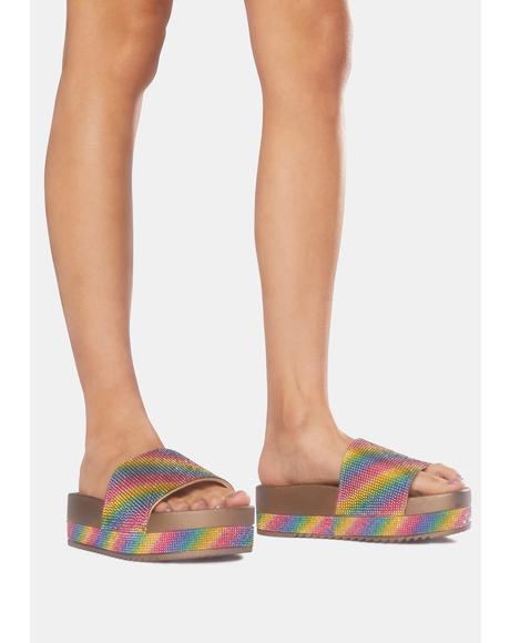 Rainbow Girl At Home Slide Sandals