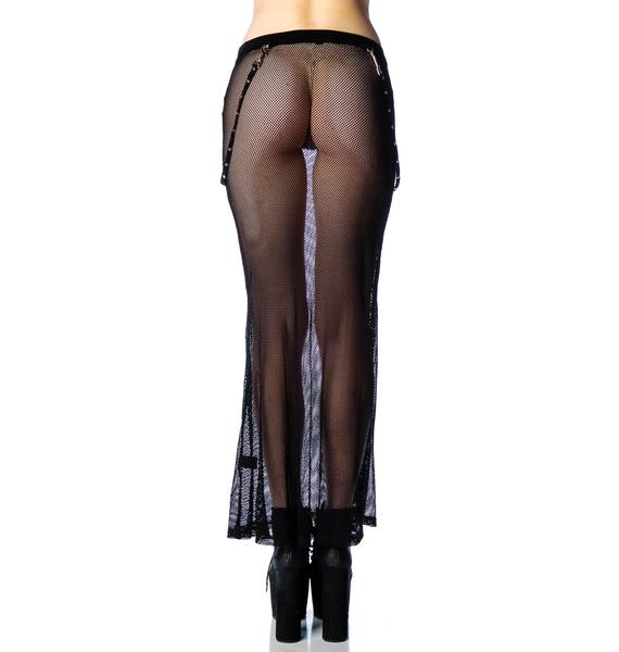 Tangled Web Mesh Maxi Skirt