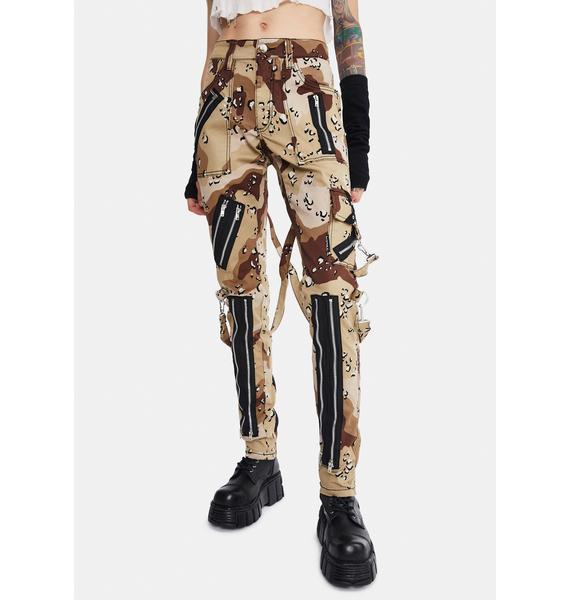 Tripp NYC Sand Camo Classic Slim Leg Bondage Pants