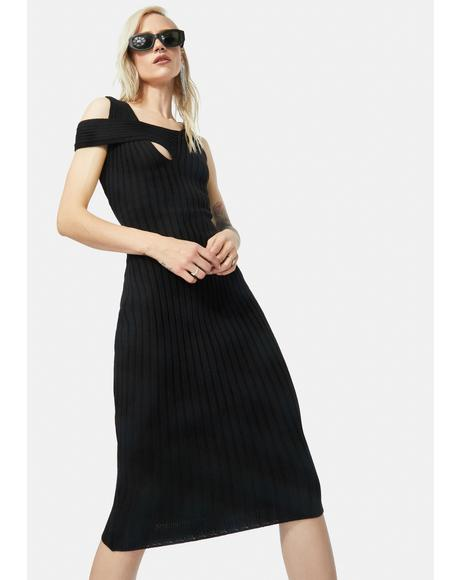 Midnight Unlimited Texts Knit Midi Dress