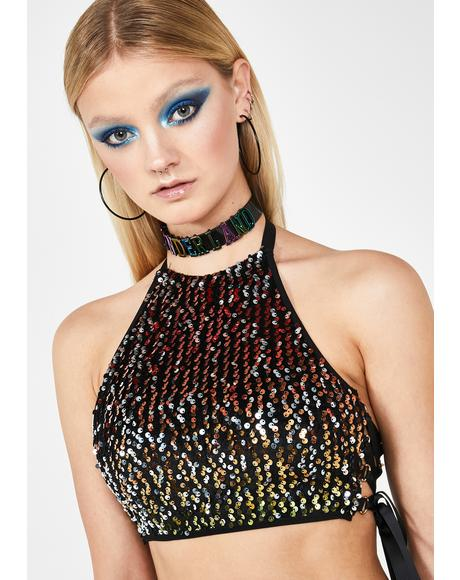 Acid Technotopia Sequin Top