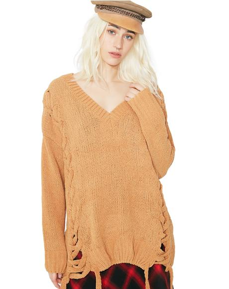 Lazy Daze Lace-Up Sweater
