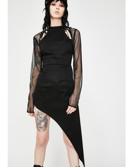 Mesh Asymmetrical Bodycon Mini Dress