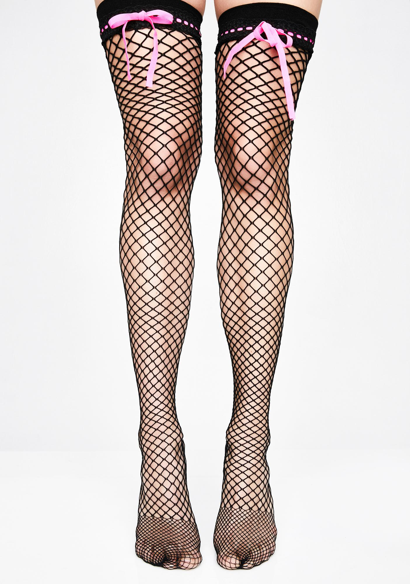 Bashful Babe Fishnet Thigh Highs