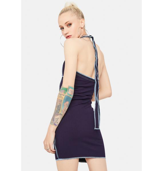 Navy Always Flaunting It Lace-Up Bodycon Dress