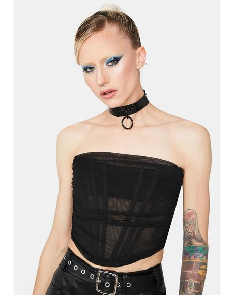 For The Night Mesh Corset Top