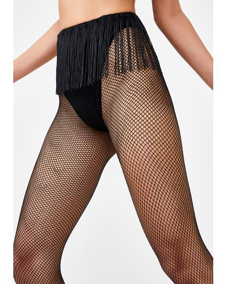 On The Fringe Fishnet Tights