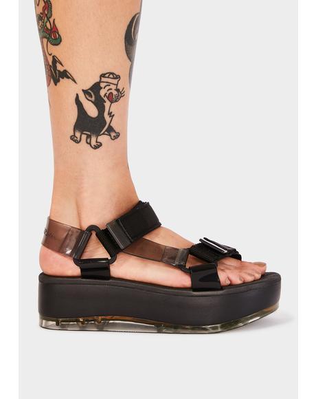 Black Papete Platform Sandals