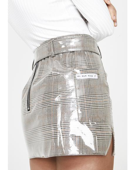 Patent Plaid Belted Skirt