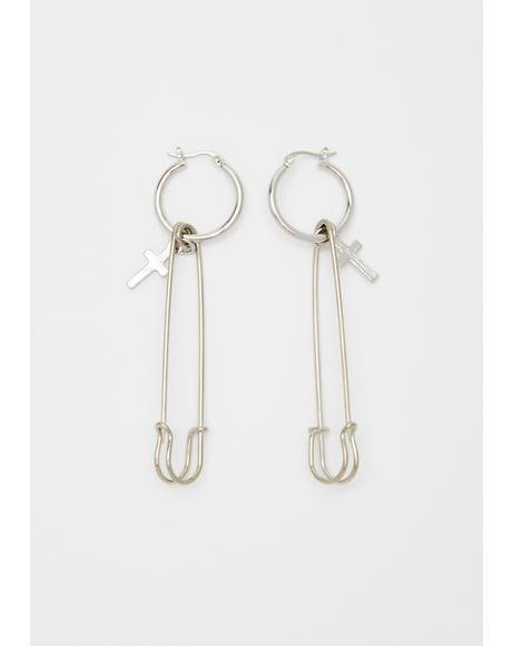 Pinned Down Safety Pin Earrings