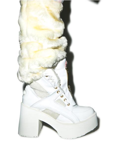 X Buffalo Platform Fur Boots