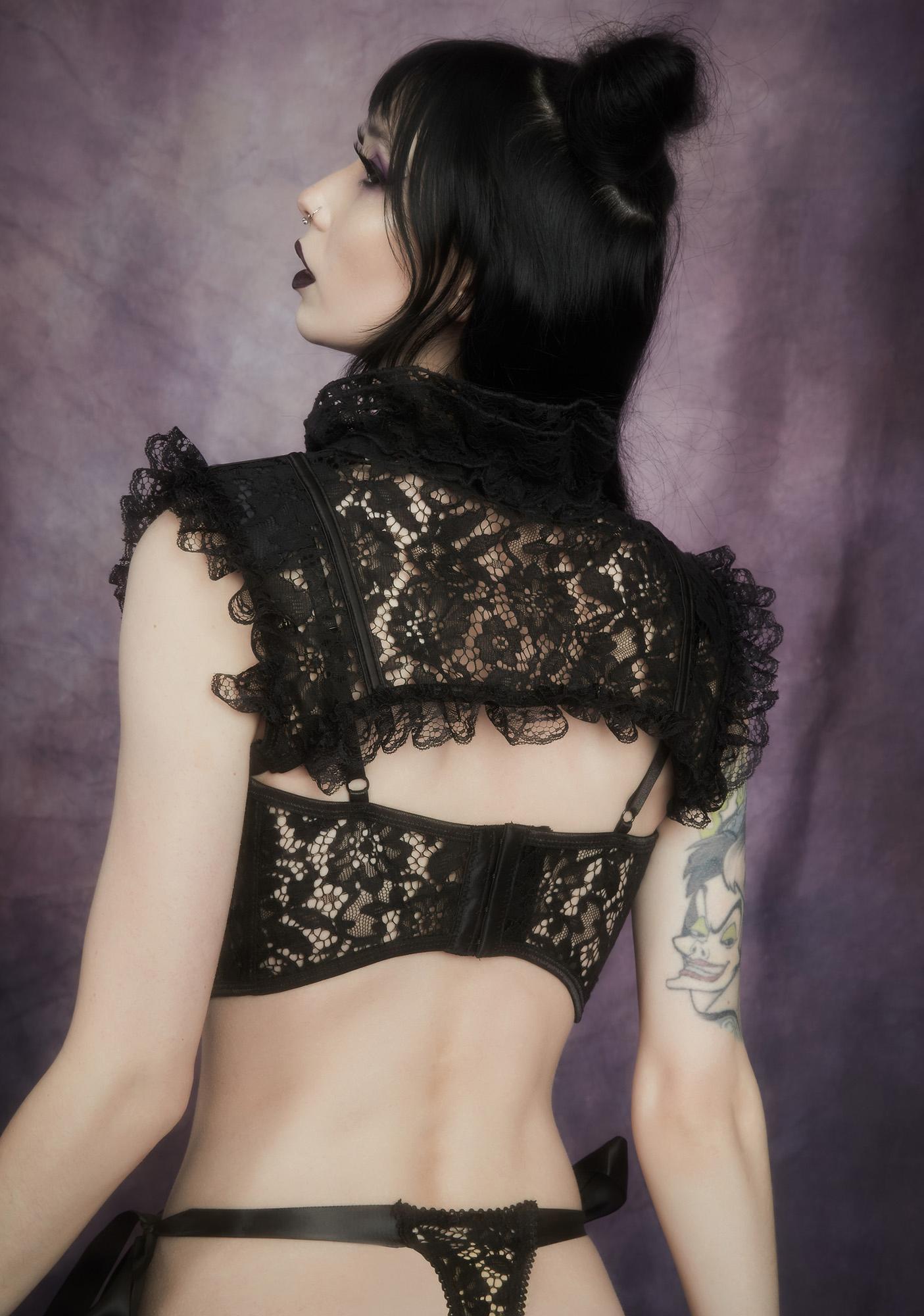 Widow Before Dawn Satin Ribbon Tie Lace Thong