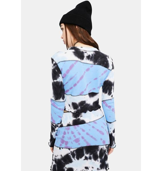 dELiA*s by Dolls Kill There'll Be Snow Tie Dye Patchwork Top