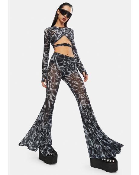 Ripple Effect Mesh Flare Pants
