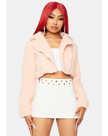 Rose Crop Me Out Sherpa Jacket