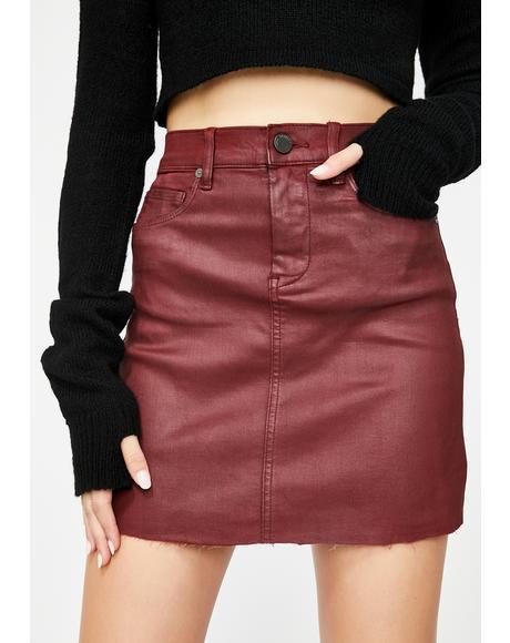 Autumn Coated Denim Skirt