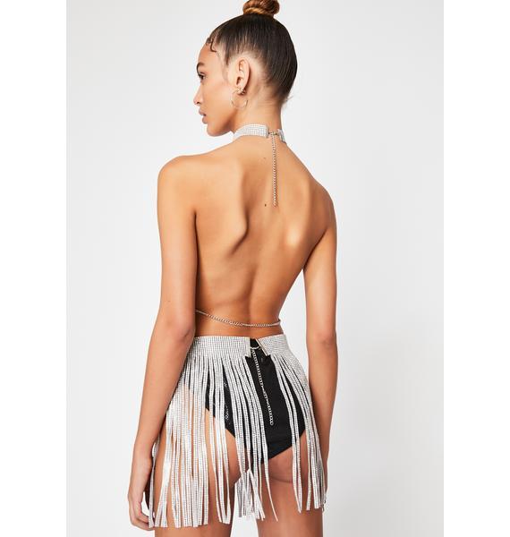Millionaire Mami Crystal Fringe Skirt