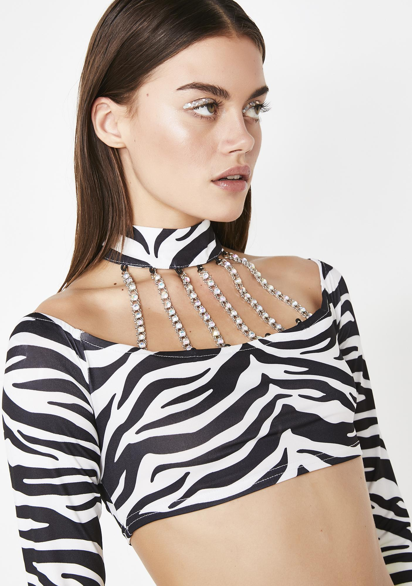 Jaded London Choker Bardot Crop Top