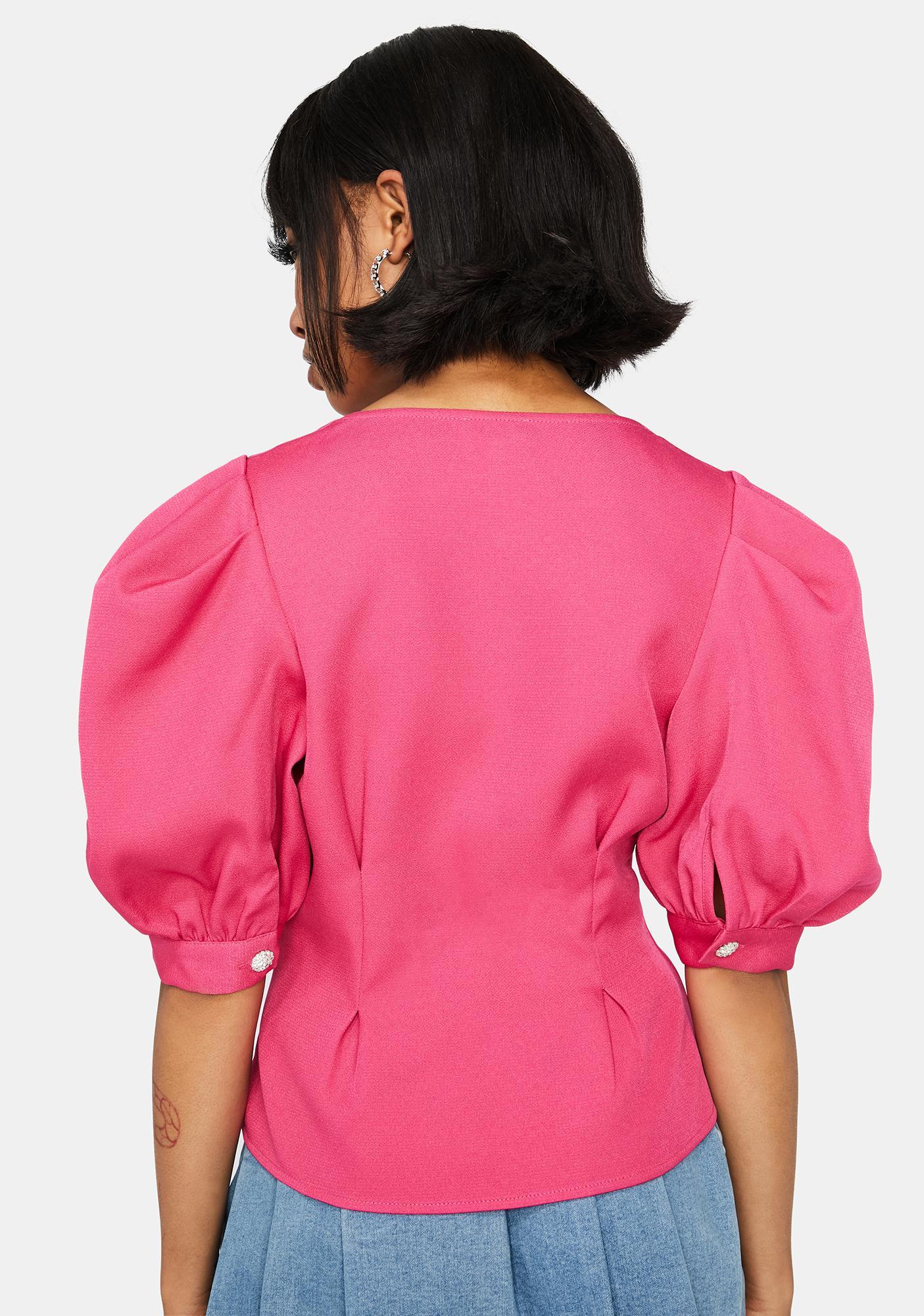 Fuchsia Pure Elegance Puff Sleeve Blouse