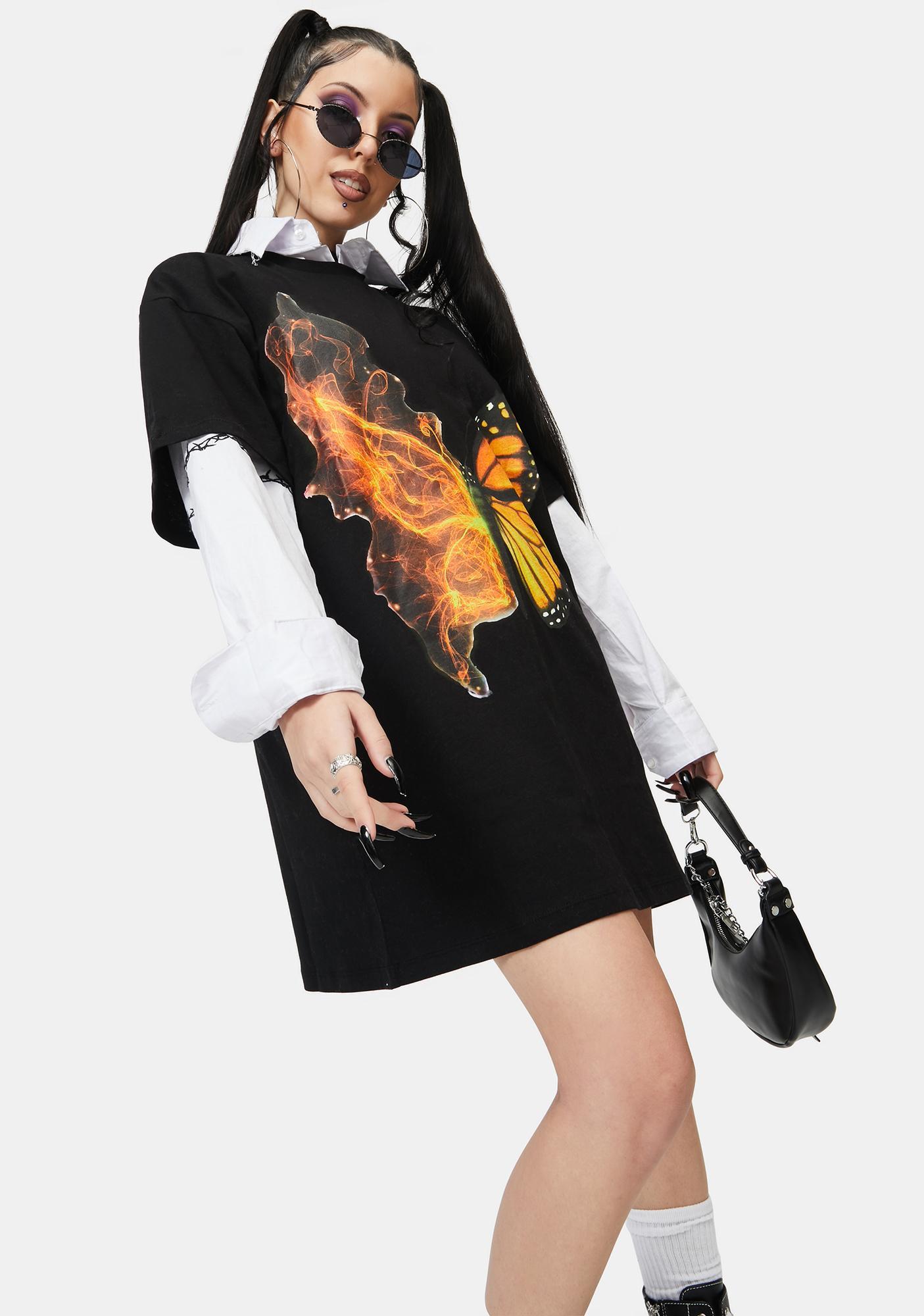 NEW GIRL ORDER Butterfly T Shirt Dress