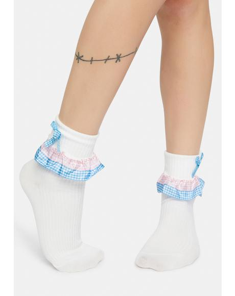 Meadow Melody Gingham Ruffle Ankle Socks