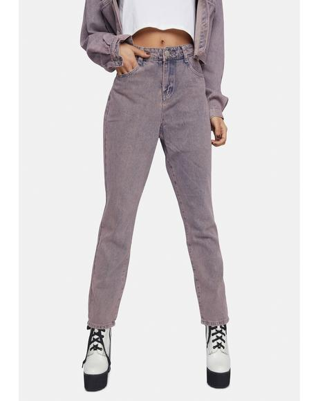 Pink Tint High Waist Denim Jeans