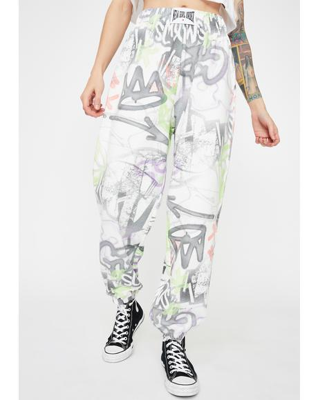 Graffiti Print Jogger Sweatpants