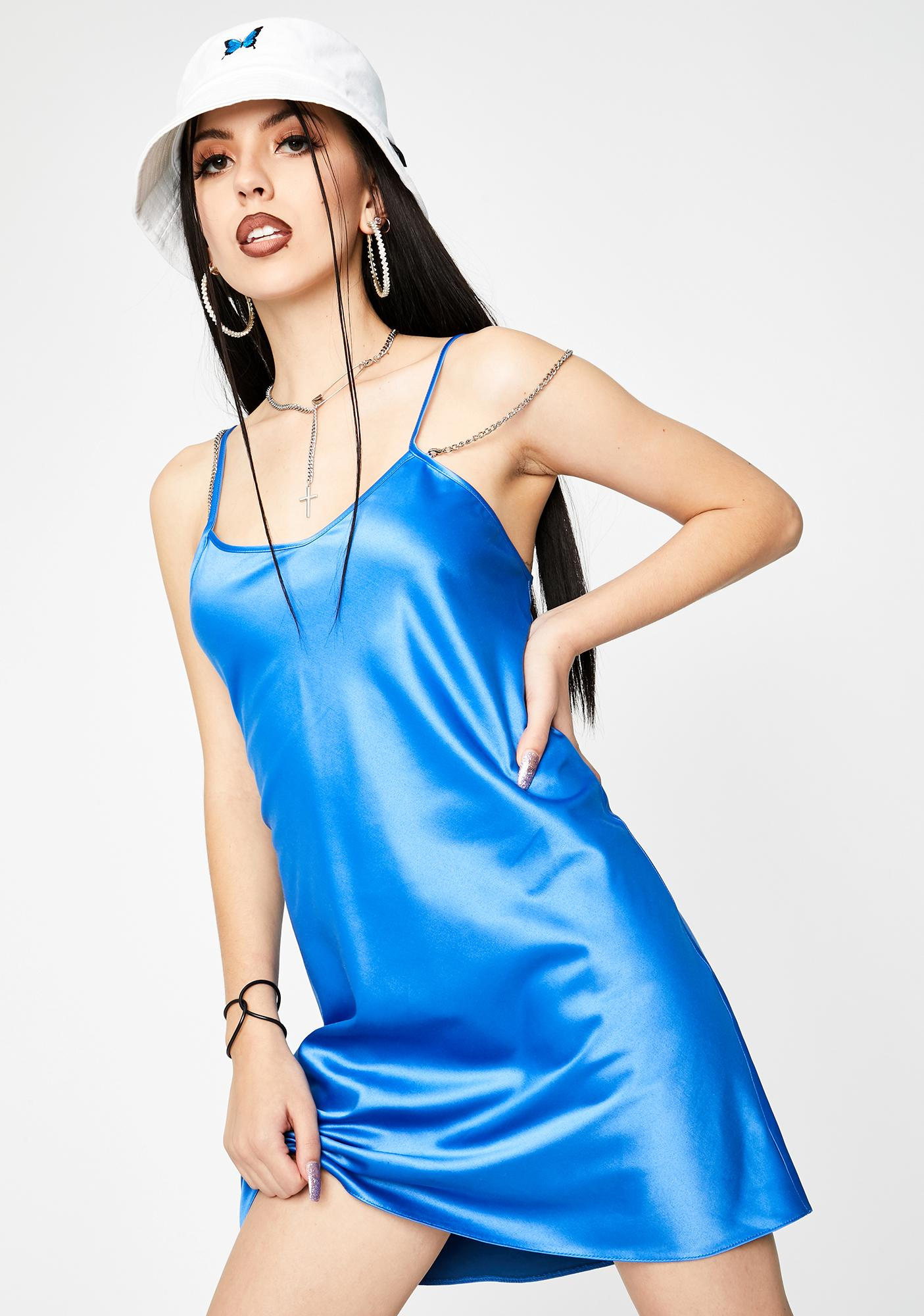 Local Heroes Blue Satin Chain Strap Slip Dress