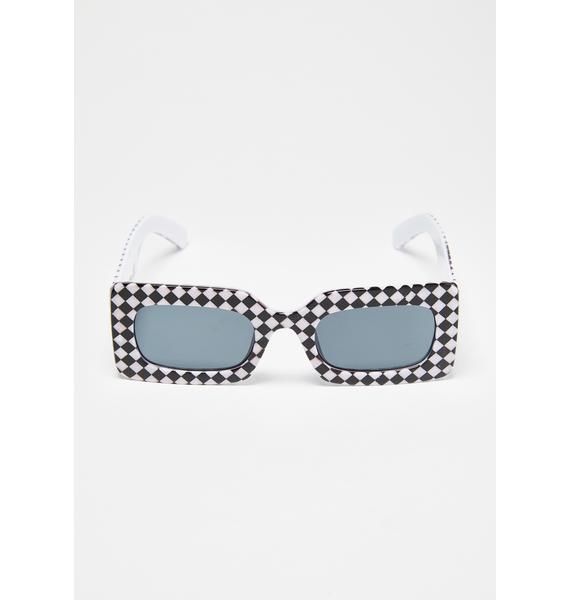 Petals and Peacocks Warped Checkerboard Rhubic Sunglasses