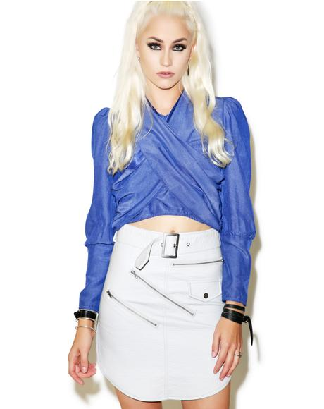 Blanco Outlaw Leather Skirt