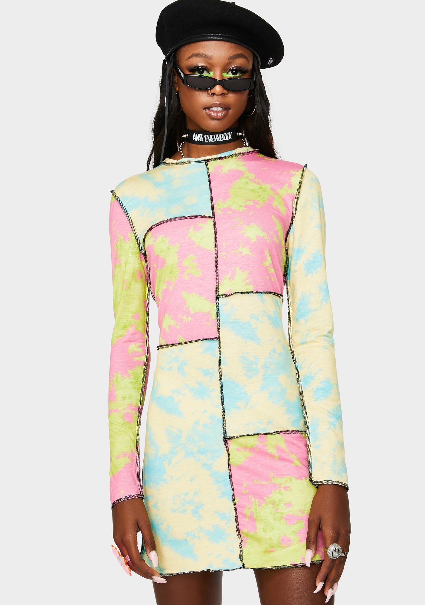 The Ragged Priest Hi Fi Tie Dye Long Sleeve Dress