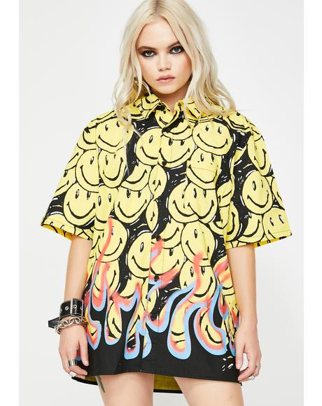 Smiley Flames Button Up Shirt