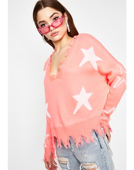 Candy Trip Thru Space Distressed Sweater