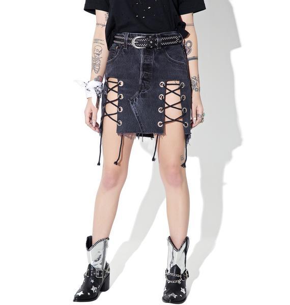 American Vintage Reworked Levi's Denim Lace-Up Skirt