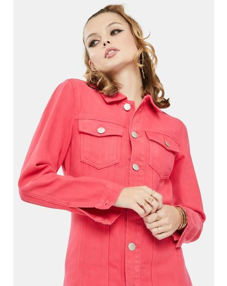Rose Red Button Front Mini Dress
